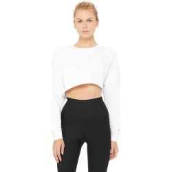 Alo Yoga Double Take Pullover - White - Size M - Performance Fabric