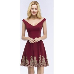 Costbuys  Sexy V Back Burgundy Short Lace Prom Dresses Satin Sleeveless Homecoming Dresses - burgundy / 6 found on Bargain Bro India from cost buys for $277.99