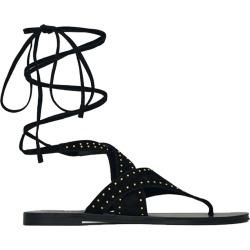Saint Laurent Women's Gia Gladiator Stud Wrap Sandal in Black size 38.0I found on Bargain Bro India from kirna zabete for $895.00