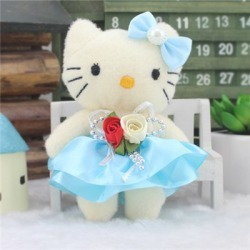 Costbuys 12Pcs/set 5 Color Candy Bow Rose Lovely Cat Plush Toys Cartoon...