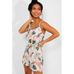 White Tropical Print Cami Playsuit found on Bargain Bro from SinglePrice for USD $15.25