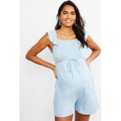Motherhood Maternity - Chambray Smocked Maternity Romper - M found on Bargain Bro India from motherhood for $34.97