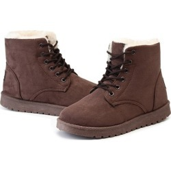 Costbuys  Women Winter Boots Suede Snow Bottes Ankle Boots Female Warm Winter Shoes Woman Round Toe Botas - brown / 8 / Russian