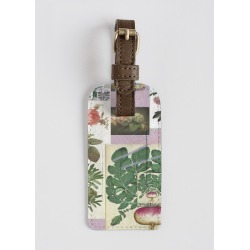 Leather Accent Tag - Roses And Beets in Green/White by VIDA Original Artist