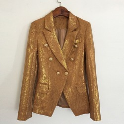 Costbuys  Autumn winter women cool metal gold color blazer double breasted streetwear outerwear - Gold / M