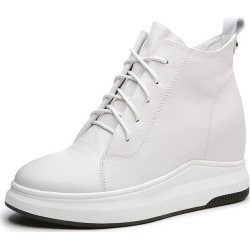 Costbuys  Spring Genuine Leather Shoes Women High-top Wedges Sneakers Women Fashion Lace-up Casual Platform Shoes - White / 35 found on Bargain Bro India from cost buys for $417.60