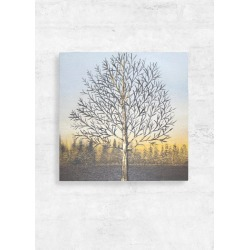 Canvas Wall Art - 12x12 - Tree And Yellow Sky in Brown/Green/Yellow by VIDA Original Artist