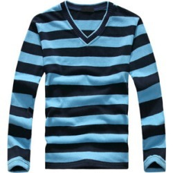 Costbuys  men's long-sleeved cotton stripes sweater fashion and pullover men of Wholesale - Sky blue / XL