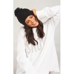 Katie Pom Pom Hat ~ Black
