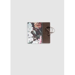 Leather Journal - Dark Floral Abstract in Pink/White by Always Seek Original Artist