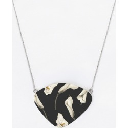 Oversized Statement Pendant - Black White Floral in Brown/Green/White by Haris Kavalla Original Artist found on Bargain Bro India from SHOPVIDA for $50.00