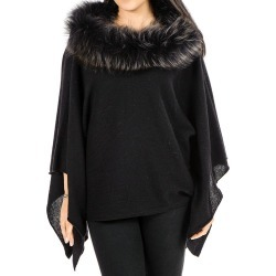 Black Cashmere Bat Wing Poncho with Fur Collar found on Bargain Bro from black.co.uk for £277