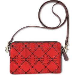 Statement Clutch - Ethno Design Blocks Red in Brown/Orange/Red by VIDA Original Artist
