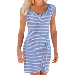 Costbuys  Stripe Bandages Dress Women Short Sleeve V-Neck Mini Dresses Summer Beach Party Sundress Female Dress - Blue Dress / S found on Bargain Bro India from cost buys for $60.45