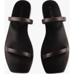 A.Emery Women's Lola Double Strap Leather Slide Shoes in Black size 40.0I found on Bargain Bro India from kirna zabete for $130.00