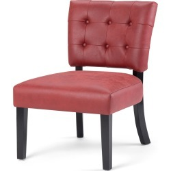 Greer 24 Inch Wide Contemporary Accent Chair In Ruby Red Faux Air Leather found on Bargain Bro Philippines from Simpli Home for $239.00