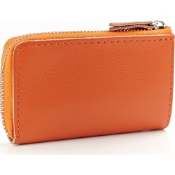 Costbuys  High Quality Genuine Leather Key Wallet  Car Key Holder Small Coin Purses Holders Zipper Housekeeper For Keys - orange