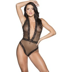 Shirley of Hollywood Fishnet And Lace Thong Back Teddy
