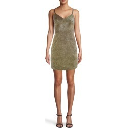 Nicole Miller Gold Sparkle Spaghetti Strap Mini Dress In Iridescent Gold | Polyester | Size 8 found on MODAPINS from Nicole Miller for USD $295.00