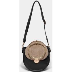 Jute Flap Black Round Cross Body Bag
