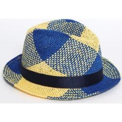 Navy and Yellow Beach Straw Hat