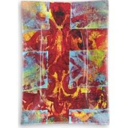 Oblong Glass Tray - Medieval Cross in Brown/Red/Yellow by VIDA Original Artist found on Bargain Bro Philippines from SHOPVIDA for $40.00