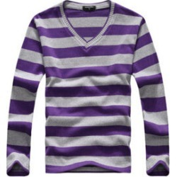 Costbuys  men's long-sleeved cotton stripes sweater fashion and pullover men of Wholesale - Purple / XL