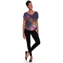 Women's V-Neck Top - Sunset In Cali in Brown/Purple by Haris Kavalla Original Artist found on Bargain Bro India from SHOPVIDA for $90.00