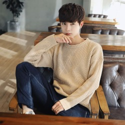 Costbuys  Style men's fashion casual knitwear high quality fashion neck Pullover solid men long sleeved sweater M-2XL - Khaki /