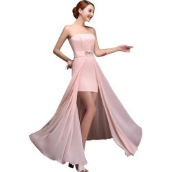 Costbuys  Pink Bridesmaid Dresses Chiffon Gowns Party Wedding Elegant Floor Length - style f / 18W