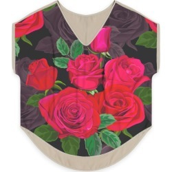 Women's V-Neck Top - Romantic Roses in Green/Red by Haris Kavalla Original Artist found on Bargain Bro India from SHOPVIDA for $90.00