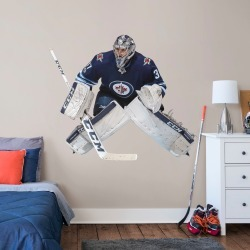 """Connor Hellebuyck for Winnipeg Jets - Officially Licensed NHL Removable Wall Decal Life-Size Athlete + 2 Decals (55""""W x 46""""H) by"""