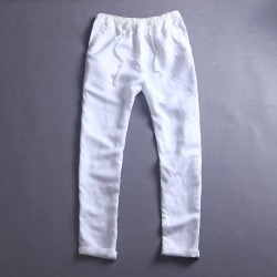 e78f421294e1 Costbuys Men s Summer Casual Pants Natural Cotton Linen Trousers White Linen  Elastic Waist Straight Pants -