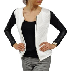 Costbuys Women PU Leather Casual Zip Long Sleeve Chic Stylish Top