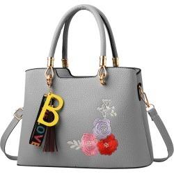 Costbuys  Tassels Flower Women Bag Fashion PU Leather Women's Handbags Top-Handle Bags Tote Women Shoulder Messenger Bag - Gray