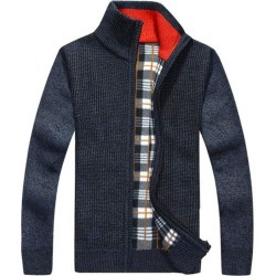 Costbuys  Cardigan Sweaters Men Thicken Knitwear cheap Stand Collar Wool Velvet Inside 6 Colors Warm Clothing - 1 / XXXL