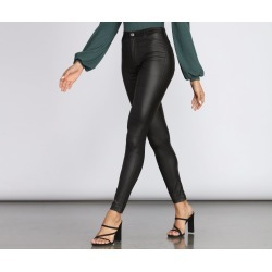 High Rise Coated Faux Leather Skinny Pants