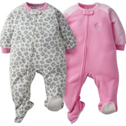 2 Pack Baby Girl Pink Leopard Blanket Sleepers 12M