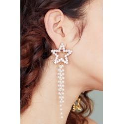 PEARL BEADED STAR DROP EARRINGS