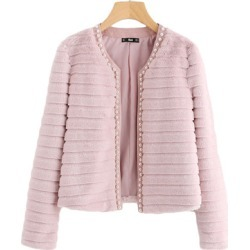 Costbuys  Pink Pear Beading Textured Faux Fur Coat Winter Collarless Cute Outer With Lining Women's Elegant Coat - Pink / S