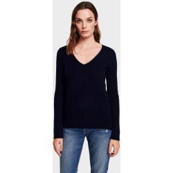 White + Warren Cashmere Slim Ribbed V Neck Sweater in Deep Navy Blue size Small