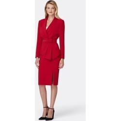 Tahari ASL Belted Asymmetric Jacket Skirt Suit Red Size: 2 Crepe