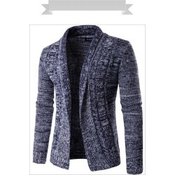 Costbuys  Autumn And Winter Fashion Men's Long-Sleeved Sweater Latest Casual Men's Cardigan Sweater - Navy Blue / M