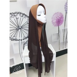 Costbuys  chiffon muslim hijabs scarf fashion headscarf voile musulman solid bonnet hijab - TJ710013 / One Size