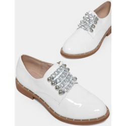 Gold Chain Details White Patent Oxfords