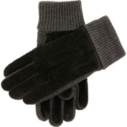 Dents Men's Fleece Lined Suede Gloves With Knitted Cuffs In Black/charcoal Size M found on Bargain Bro UK from Dents