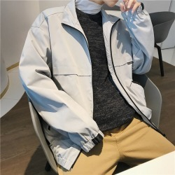 Costbuys  Youth Spring And Autumn Japanese Fashion Trend Campus Wind Boys Casual Loose Wild Solid Color Collar Jacket - gray / X