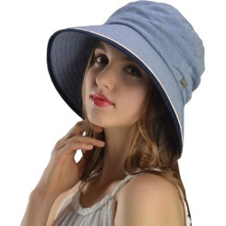 Costbuys Women Summer 100% Cotton Hats Wide Brim Floppy Bucket Sun Hat Casual Beach Hat 4 Colors Sombreros - Sky Blue / 56 cm t