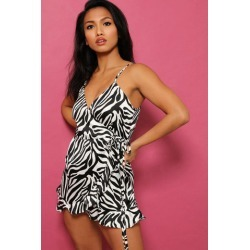 Black White Zebra Print Satin Wrap Playsuit found on Bargain Bro from SinglePrice for USD $5.08