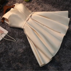 Costbuys  Women Fashion Evening Dress Satin Drill Short Party Gown Formal Dress Bow-tie Sashes Special Occasion Dresses - Elegan